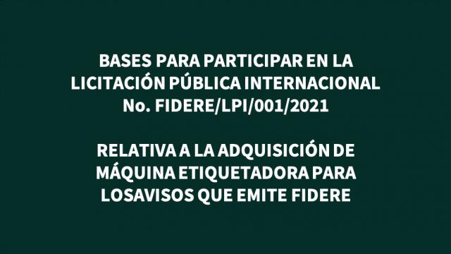 Bases para participar en la  Licitación Pública Internacional No. FIDERE/LPI/001/2021